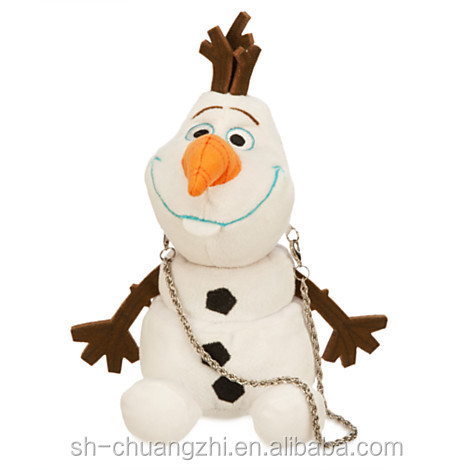 2016 Wholesale Factory custom cute promational baby cheap cartoon plush toy Fashion school cosmetic Snowman Soft coin Purse bags