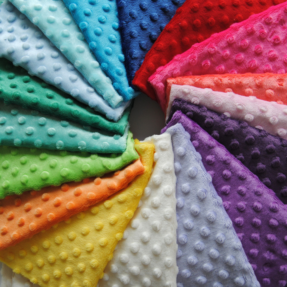 Small MOQ 50mts Mixed Colors China Factory Low Price Polyester Dot Minky <strong>Fabric</strong>