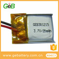 GEB301215 3.7v 20mAh li po rechargeable battery