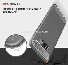 2017 trends drop proof MOQ 50 brush carbon fiber tpu cell phone case back cover for samsung galaxy s8