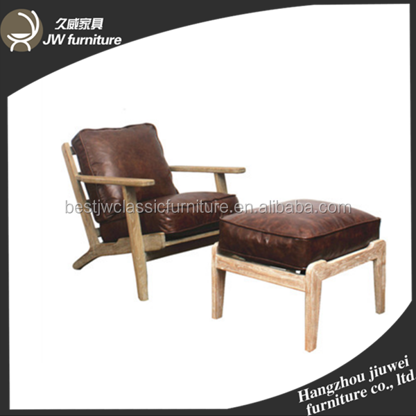 Antique Appearance pu or leather PU Lounge Chairs wooden leisure chairs with foot stool