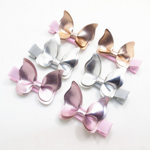 Baby Butterfly Hair Clip Girl Gold Pink Leather Baby Barrettes Bowknot Hair Clips