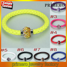 Diy Leather Crystal Shamballa Magnetic Clasp Fluorescence Neon Color Bracelet Bangle Wristband Mens Jewelry