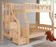 High Quality Kids & Children Solid Wood Bunk Beds with Stairs in Natural Color