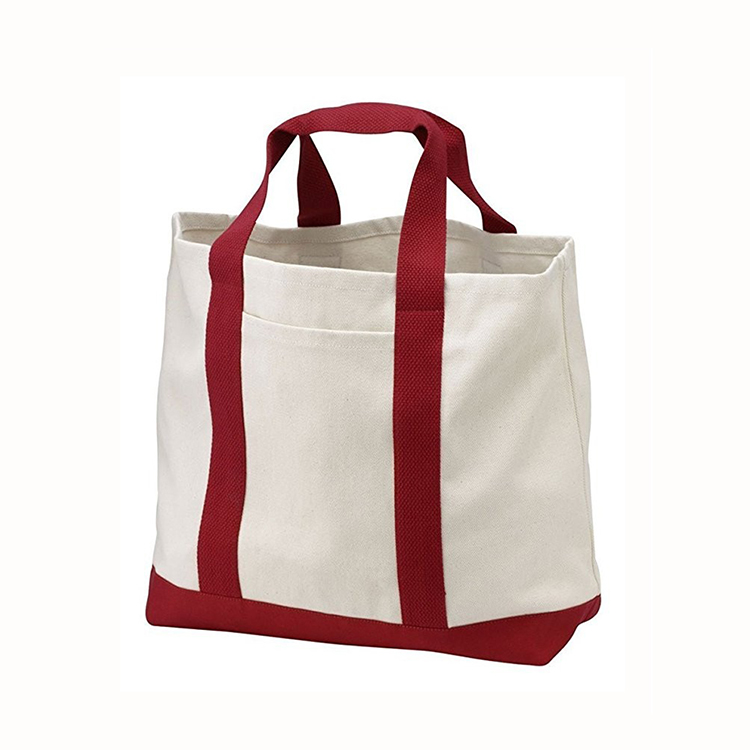 New design two tone heavy cotton bag fashion large canvas wide strap tote bag