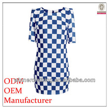 Women's your own brand designer ladies' close fit grid printed corporate dresses