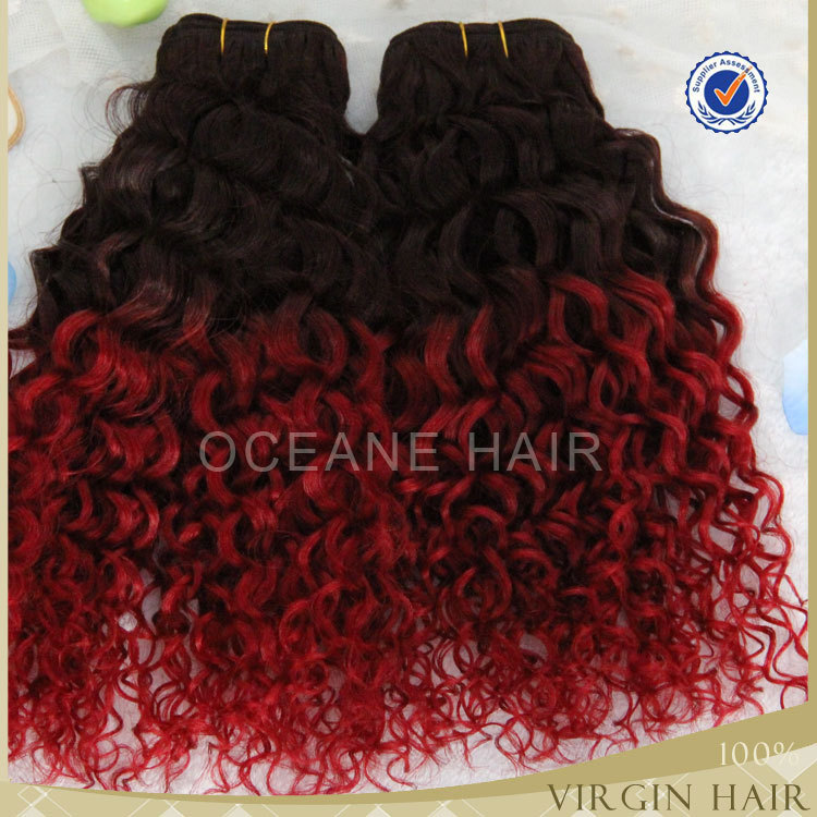 Wholesale unprocessed aliexpress brazilian human hair extension afro kinky curly ombre two tone clip in hair extensions