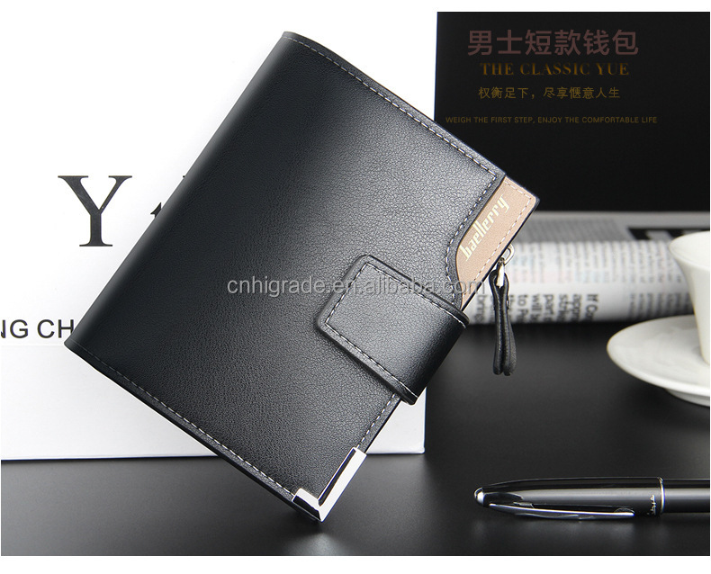 New 2016 Short Wallets PU Leather Brand Men Wallets Dollar Price Bifold Wallet Men Card Holder Coin Purse Pockets With Zipper