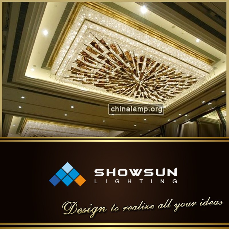 Imitation cloud slate pendants crystal flush mounted lamp for hotel
