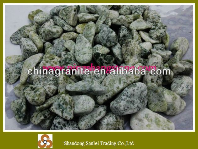 nice green natural tumbled cobbles and pebbles