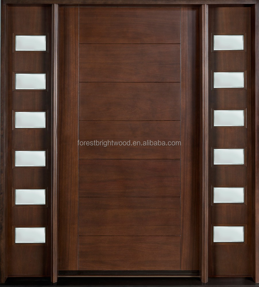 America Solid Mahogany Villa Main Door with Grill Designs