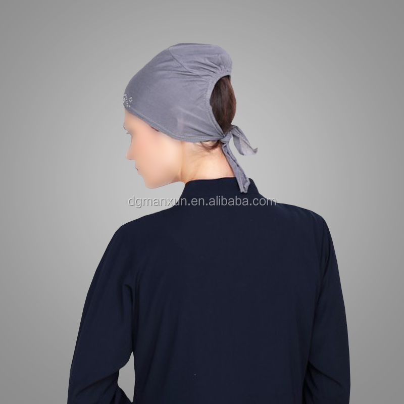 Wholesale Islamic Clothing Grey Stone Work Hijab Cap Muslim Classic Style Hot Muslim Hijab