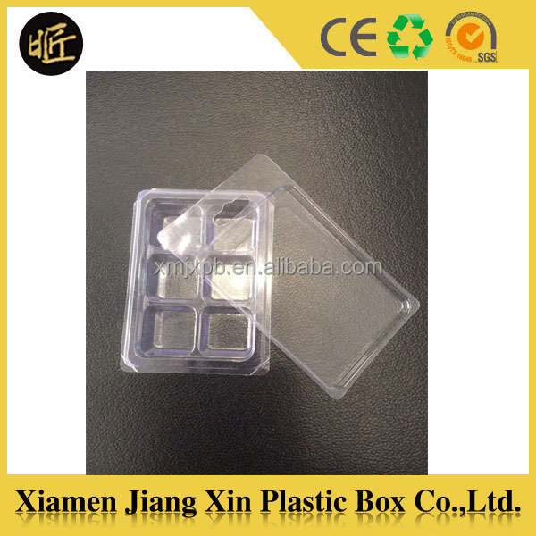 New clear custom design small disposable plastic PP 6 cavity chocolate blister tray