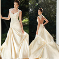 Cream taffeta boat neck ball gown wedding dresses with sleeves
