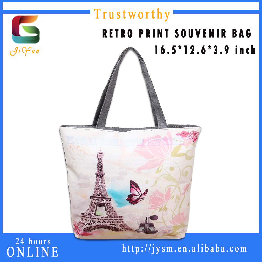 Manufacture European Style Flower Souvenir Eiffel Tower Shopping Tote Bag Customize Teenager College OEM Printing Leather Bag