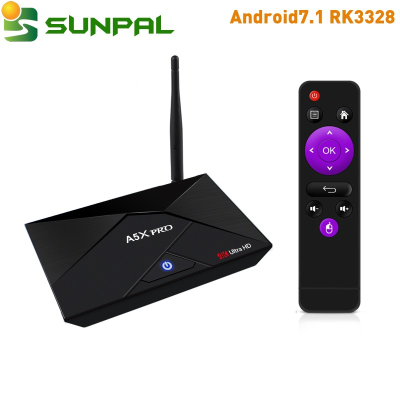 sunpal android 7.1 tv box a5x pro h265 4k 2gb ram 16gb rom set top box rockchip rk3328 quadcore stb iudtv code iptv subscription