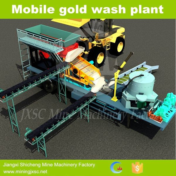 3D designed Mobile Gold Washing Plant Consist of feeder, screen, centrifuge, sluice box