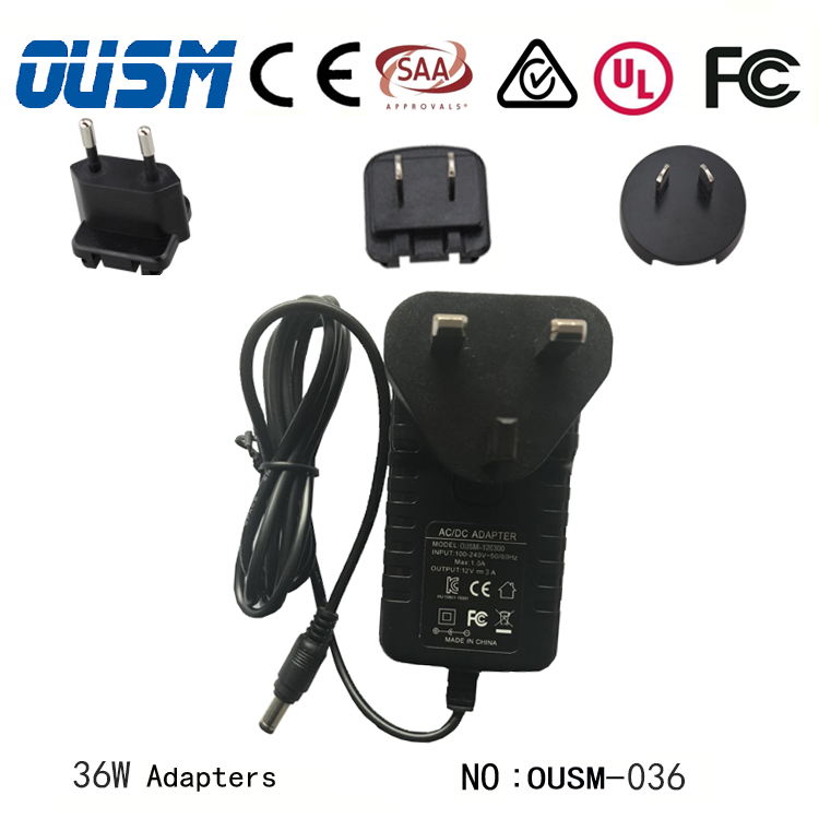Interchangeable Plug Power Adapter 5-24V 0.5-2A Power Supply Adaptor with EU US AU UK Plugs