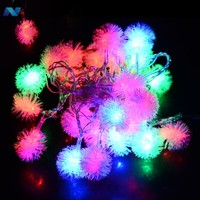 5M 28 LED Fuzzy Ball String Fairy Light Christmas Xmas Party Wedding Decoration 100-220V US Plug