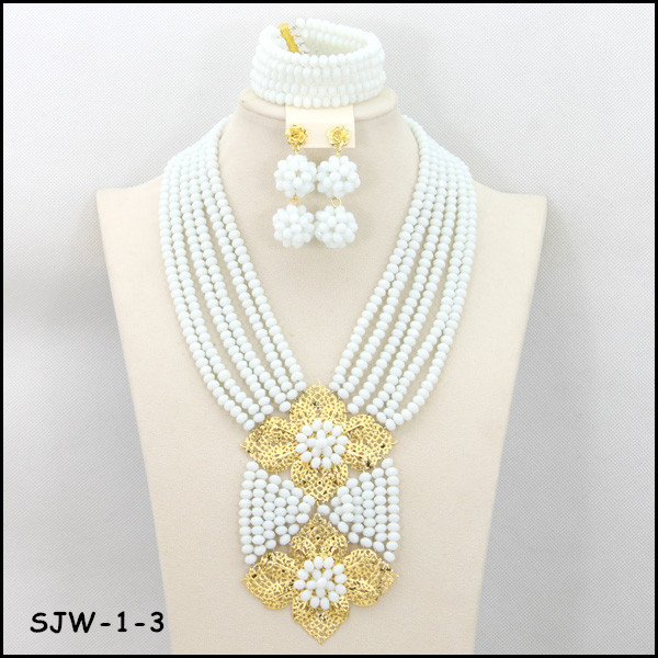 SJW-1-3 Fashion White Nigerian Crystal Beads Necklace Bracelet Earring Sets Dubai Wedding Beads African Jewelry Sets