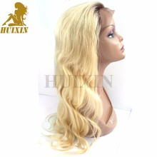 long blonde human hair wig blonde full lace wig dark roots human hair wig