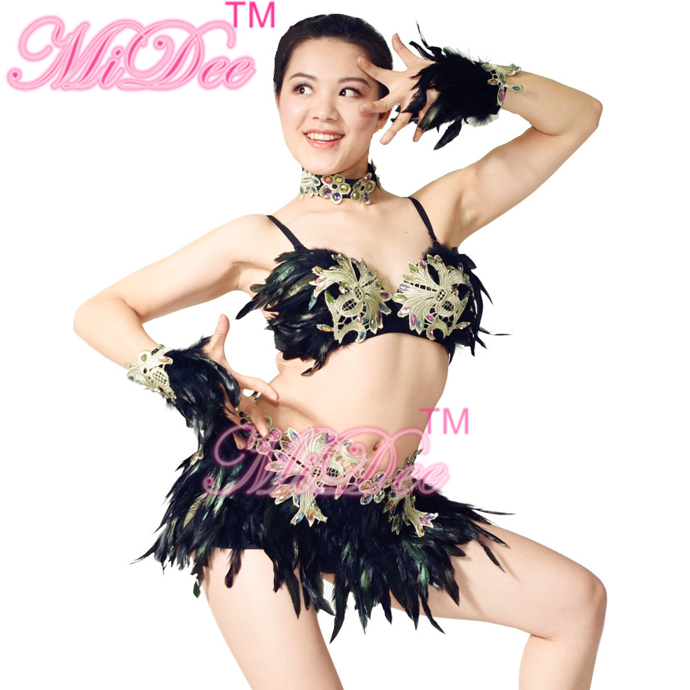 Feathered Sexy Dancing Costume Night Club Wear Belly & Latin Dance Dress