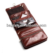 CT678 Folding Men Leather Toiletry Bag Travel Cosmetic Bag With Mirror