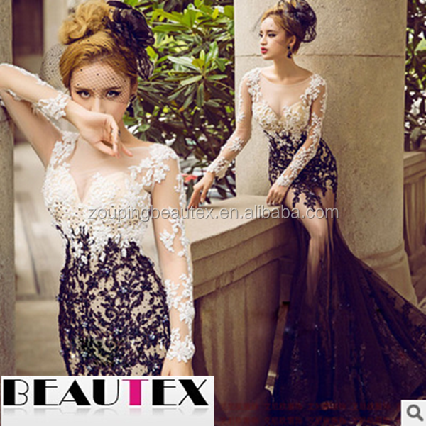 Sexy photo applique lace evening dress