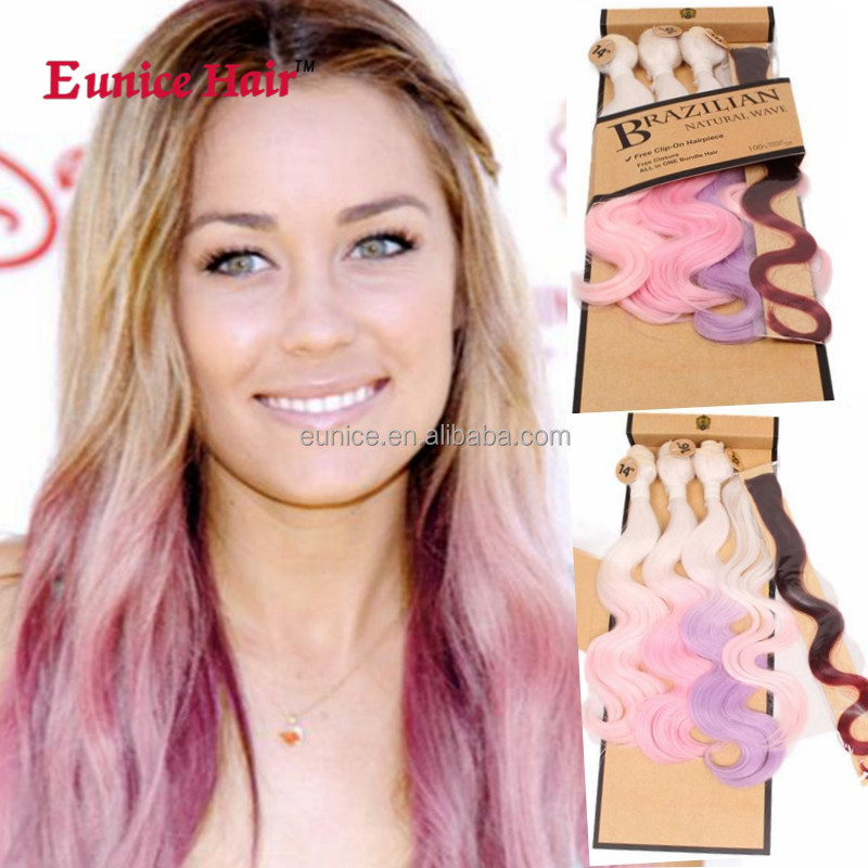 Eunice ombre hair weaves bundles synthetic wholesale hair extension weft body wave 5pcs T1B27
