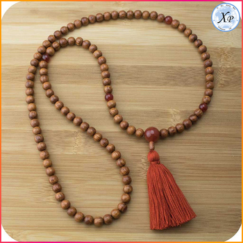 wholesale wood necklace mala beads wooden beads tassel necklace