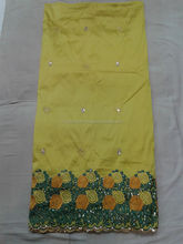Elegant Yellow Embroidered african Raw Silk George lace fabric