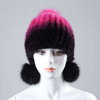 Hot sale real mink fur hat for women winter knitted mink fur beanies cap with fox fur pom poms