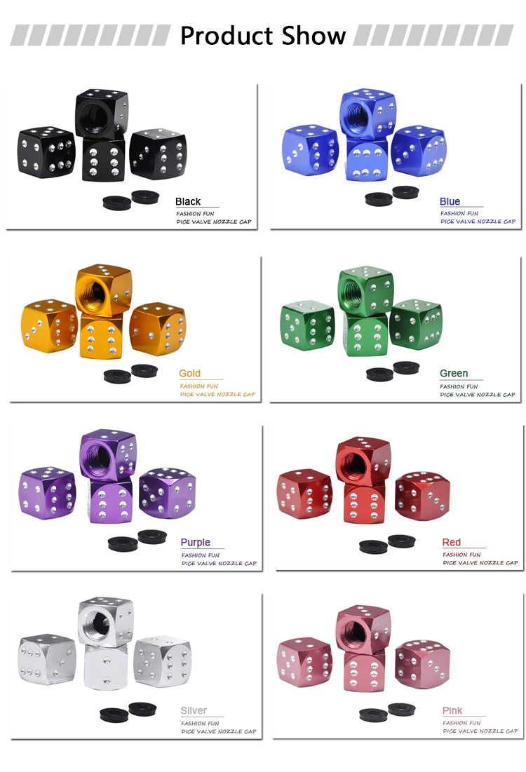 BYC Guangzhou Auto Parts Colorful Aluminium Dice Car Tire Valve Caps Auto Parts