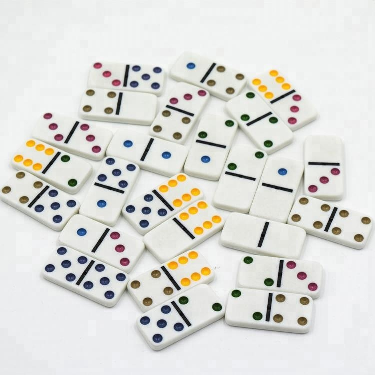 Double Six Double 12 Color Dot Dominoes White with Black Dots