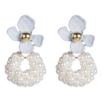 Alloy spray-painted flowers imitation pearl earrings girl heart refined elegant earrings manufacturers direct earrings