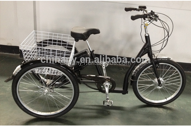 Electric tricycle for older/24 inch adult trike/3 wheel cargo bike tricycle GW7019E