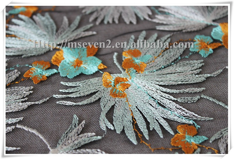 Top fashionable colorful leaves embroidered lace fabric dresses fabrics