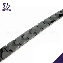 Wholesale stainless steel black enamel bead landing bracelet