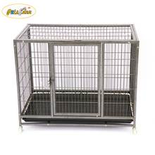 Heavy Heavy Duty indoor&outdoor dog cage wire tube pet dog kennel crate with wheels