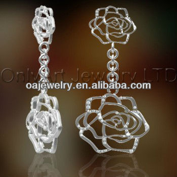 2013 new style brass or sterling silver fashions in jewelry rose flower jewellery, designer earring