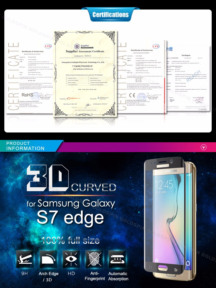 Perfect Fit For Samsung Galaxy S7 Edge 3D Full Covered Tempered Glass Screen Protector