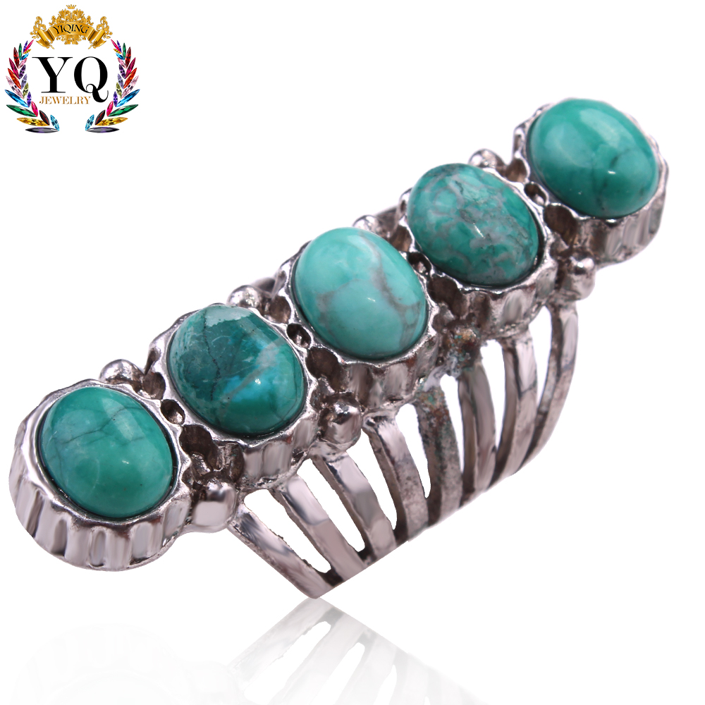 RYQ-00107 turkish vintage blue natural turquoise finger ring one row antique silver blue stone ring