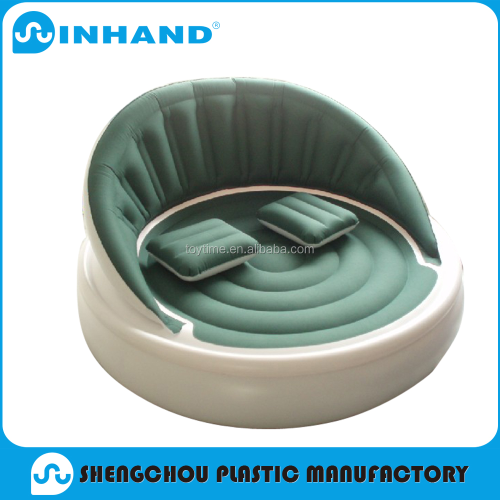 customised EN71 flock+PVC inflatable sofas, home furniture promotional round single person seat sofa