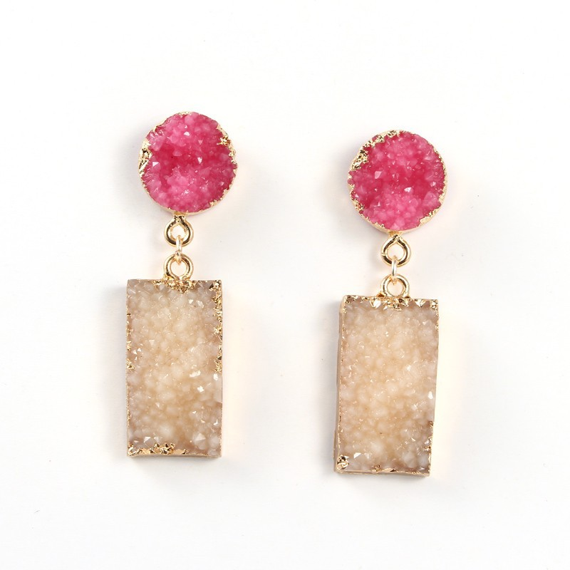 Free shipping resin square druzy drop earrings for women jewelry