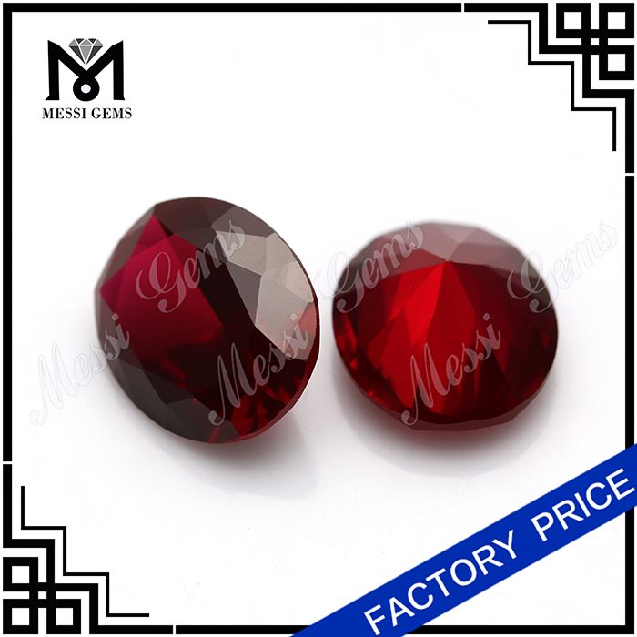 Free Sample Good Quality Oval 8# Synthetic Blood Red Ruby Prices