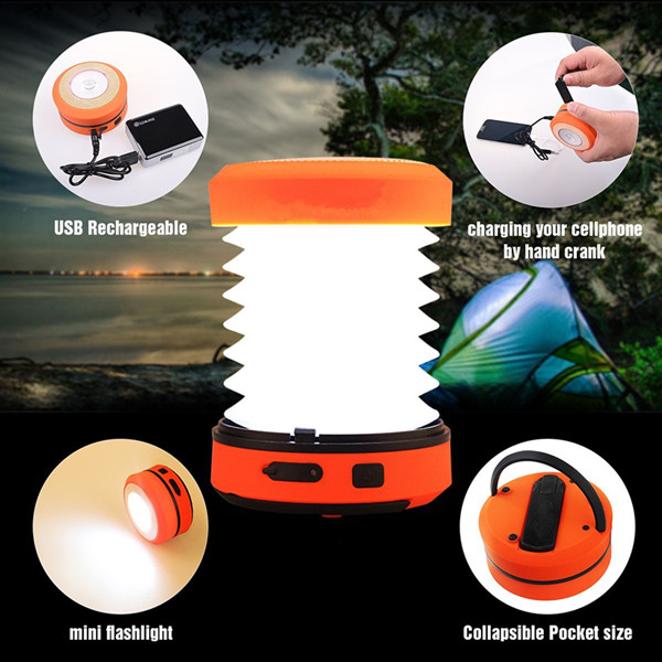 Mini Flashlight Torch Light Tent Lamp Hand Crank USB Rechargeable LED Camping Lantern