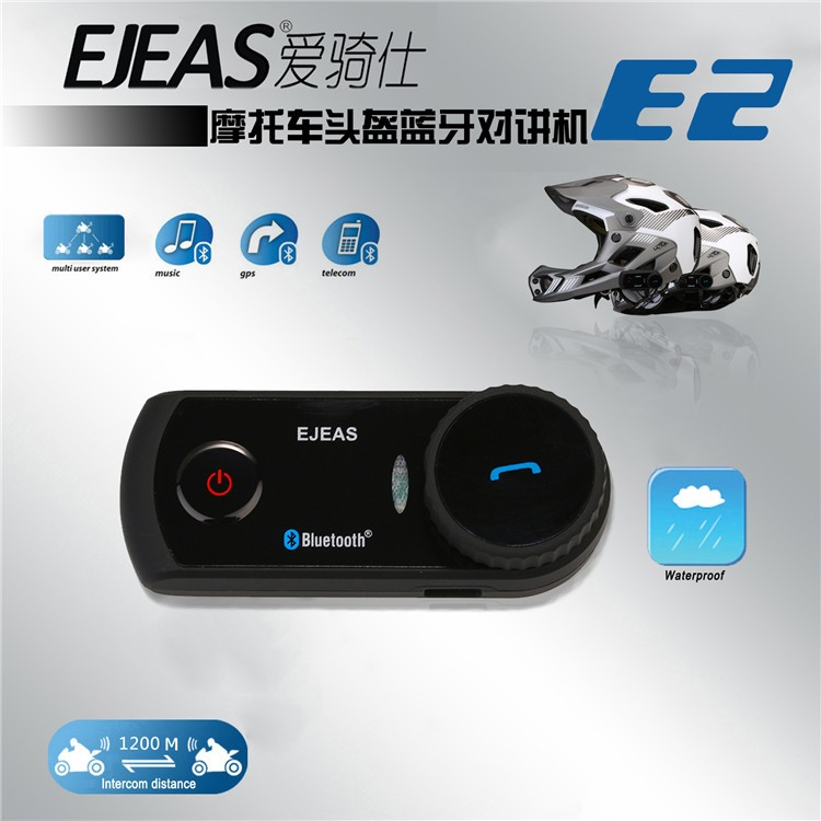 EJEAS E2 BT Intercom Motorcycle Helmet Interphone Bluetooth for 4 person use 1200m talking distance