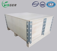 Fisger Customized Folding Steel Strip Wood Crate for Cargo Export Packaging