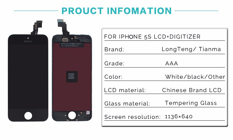 Super AAA Quality No Dead Pixel For iPhone 5S LCD Complete Screen Display with Touch Screen Digitizer Assembly