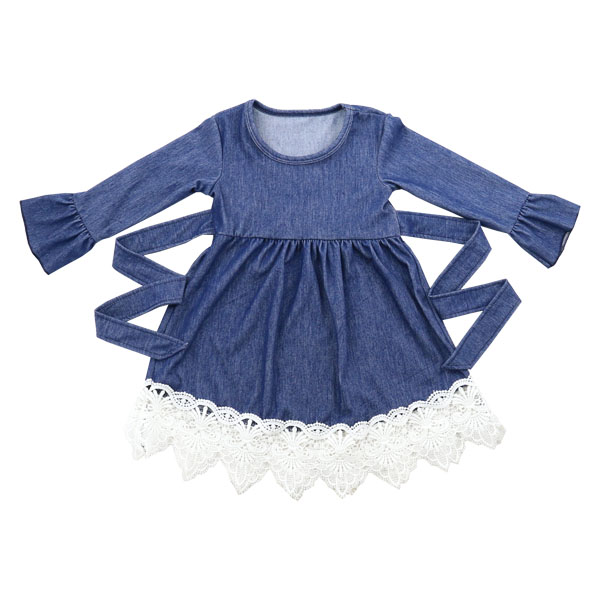 Wholesale 2016 baby girls long sleeves princess party dresses baby girls denim dress designs fancy lace frocks fall kids dresses